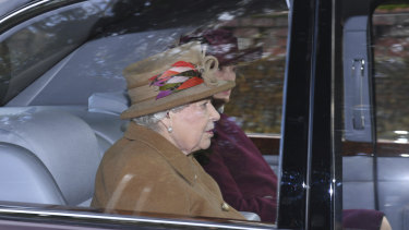 Queen Elizabeth arrives St Mary Magdalene Church in Sandringham on Sunday.