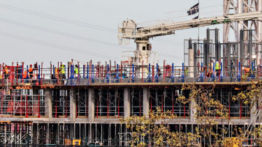 A West Melbourne construction site is one of many in Victoria underpinning the state's economy.
