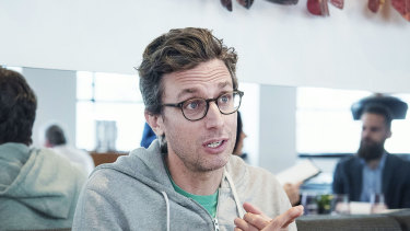BuzzFeed chief executive Jonah Peretti, pictured in Sydney restaurant the Bridge Room in 2017, is moving to make more than 200 of the company's staff redundant.