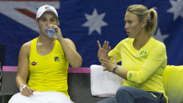 A decade later: Ash Barty, left, and Alicia Molik are together again as player and captain in the Fed Cup