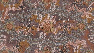 Detail from Clifford Possum Tjapaltjarri's Larumba, 1993.