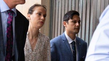 Hannah Quinn and Blake Davis arrive at court on Wednesday.