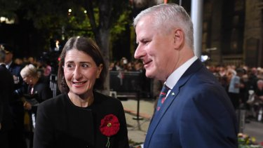 Premier Gladys Berejiklian at the Anzac Day dawn service with Deputy Prime Minister Michael McCormack.