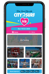 A mock-up of the City2Surf app which entrants will use to track their runs.