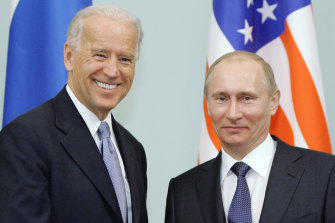 Meeting may not be all smiles: Joe Biden, and Vladimir Putin in Moscow, Russia in 2011.