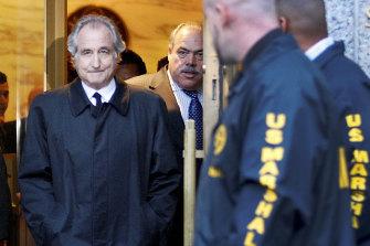 Disgraced financier Bernard Madoff leaves court in Manhattan after a bail hearing in January 2009.