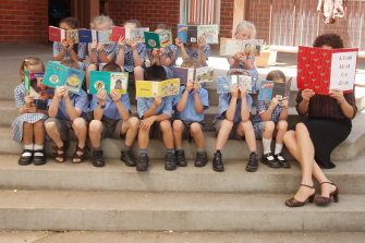 Back in her teaching days: Gabbie Stroud with her kindergarten class at St Patrick's, Bega.