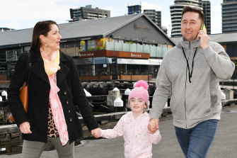 Lisa DePaoli-Maber and Terry Rowland, pictured with Grace, had planned to marry on Central Pier, Docklands when they were forced into a last-minute change by the pier's closure.
