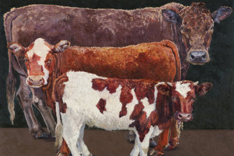 Lucy Culliton's painting of  Pushy, Brocky and Bison.