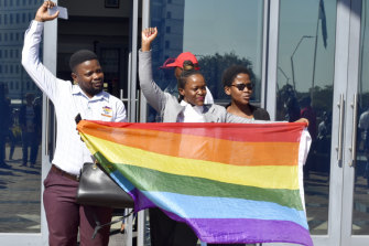 Activists celebrate outside the High Court in Gaborone, Botswana after the country became the latest country to decriminalise gay sex.