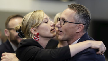 Senator Larissa Waters with Greens leader Senator Richard Di Natale during his address to the National Press Club in Canberra on Wednesday.