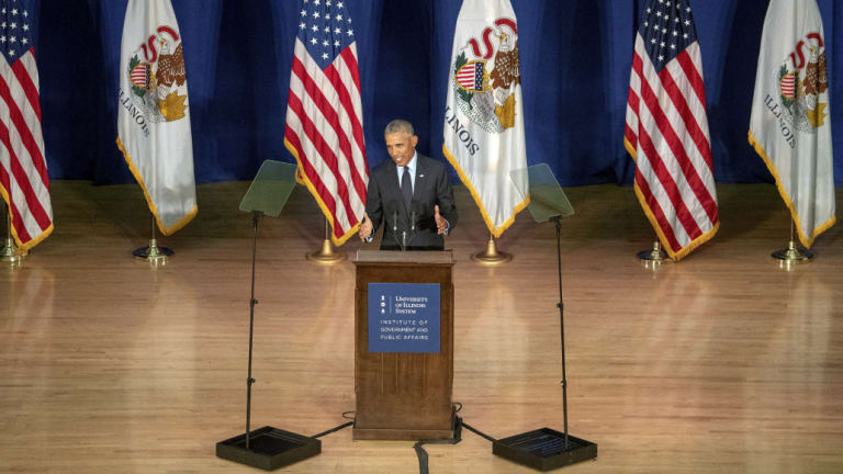 Former US president Barack Obama was at the University of Illinois to receive a medal for the Paul H. Douglas Award for Ethics in Government.