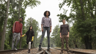 (Left to right) Skylan Brooks, Miya Cech, Amandla Stenberg and Harris Dickinson.