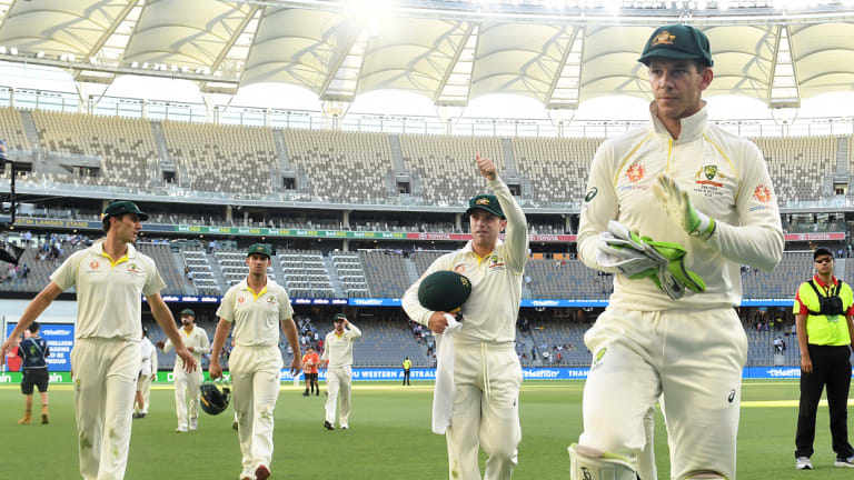 Victory in sight: Australian captain Tim Paine leads his men off the field on day four.