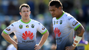 Sam Williams and Joey Leilua show their disappointment in Sunday's loss to the Tigers.