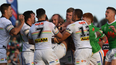 Heated: A melee breaks out between Penrith and the Raiders.