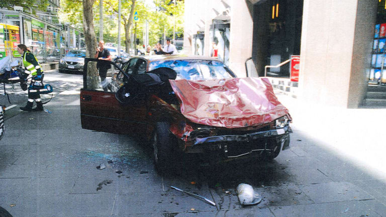 The car allegedly driven by James Gargasoulas after it hit and killed six pedestrians on Bourke Street.