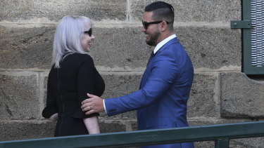 Salim Mehajer is greeted by his lawyer Zali Burrows outside Cooma Correctional Centre on Tuesday.