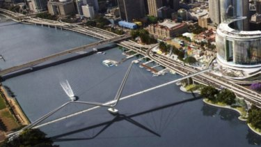 The proposed Neville Bonner Bridge from the new casino and hotel complex to South Bank near the Wheel of Brisbane.