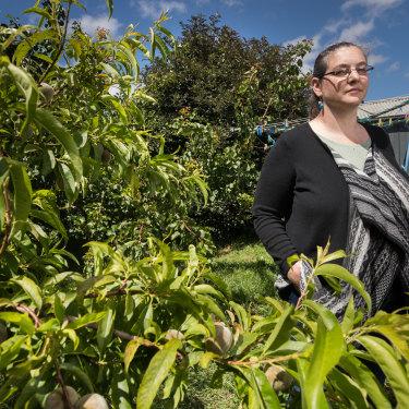 Jennie Jeppesen in her Geelong backyard.