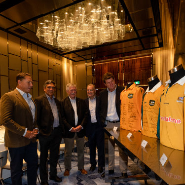 Rugby legends mull over which jersey to pick as permanent Wallabies colours.  From left, Phil Kearns, Gary Ella, Bob Dwyer, David Campese and Tim Gavin.
