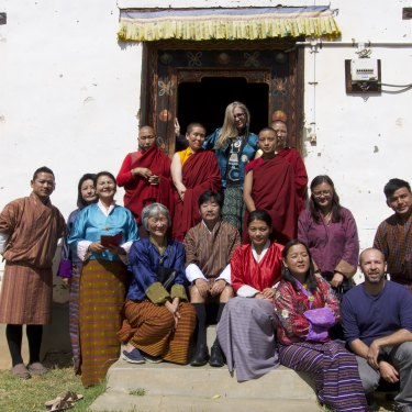 Busquets during a visit to a Bhutan nunnery in 2019. Most of her energy now goes into charitable work.