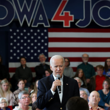 Joe Biden at a rally in Iowa earlier this month.