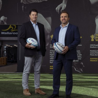 "RA chairman Hamish McLennan, left, and CEO Andy Marinos are aiming to ""rebuild"" rugby."
