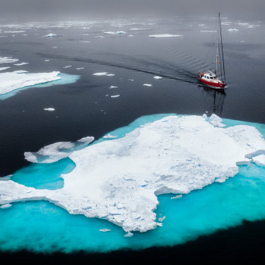 Sailing north of Svalbard among the melting sea ice.