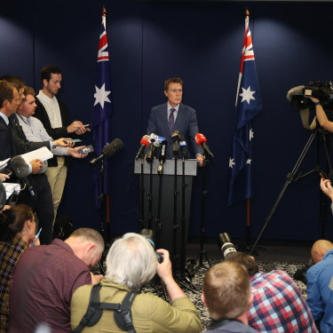 Attorney-General Christian Porter at a press conference on March 3 where he vehemently denied the allegations made against him.