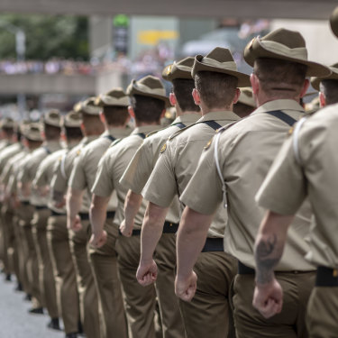 Soldiers march during the Anzac Day parade in Brisbane.
