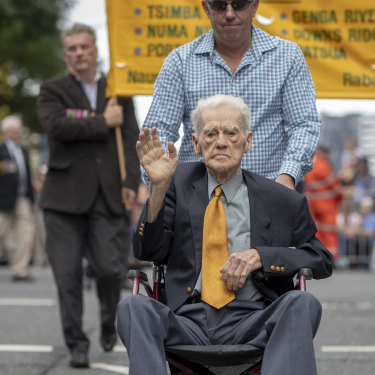 WWII Private Noel Pilcher is seen during the Anzac Day parade in Brisbane last year. Sadly, there will be no parade this year.