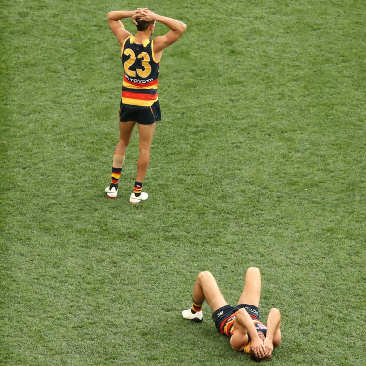 Dejected Adelaide Crows players after their defeat by the Richmond Tigers in the 2017 AFL Grand Final.