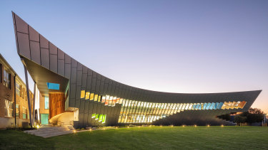 "McBride Charles Ryan's Swift Science and Technology Centre at Toorak College is ""an exuberant display of geometry,"" says Rob McBride."