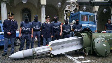 A missile was seized at an airport hangar near Pavia, in northern Italy.