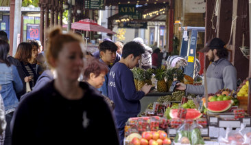 Shoppers at the Queen Victoria Market.