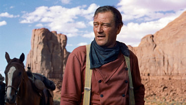 "John Wayne in the film ""The Searchers""."