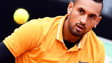 There were no tantrums from Nick Kyrgios – pictured here before throwing a chair at the Italian Open – in Stuttgart.