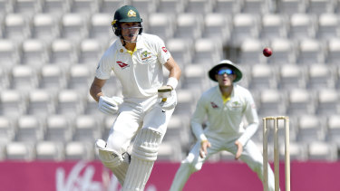 Australia's Marnus Labuschagne bats during day one of the intra-squad practice match at the Ageas Bowl.