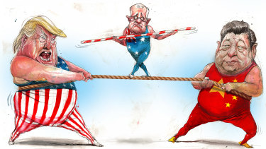 Australia needs to define its own national interests in its relationships with the US and China. Illustration: David Rowe