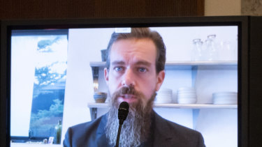 Jack Dorsey, chief executive officer of Twitter, speaks remotely during a Senate Judiciary Committee hearing in Washington, DC.