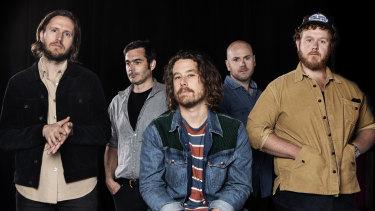 Boy and Bear band members Killian Gavin, Dave Symes, Dave Hosking, Jon Hart and Tim Hart.
