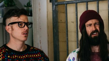 "Nick Boshier and Christiaan van Vuuren as ""Bondi Hipsters"" Dom and Adrian."