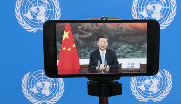 Chinese President Xi Jinping as he remotely addressed the 75th session of the United Nations General Assembly.