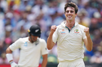Pat Cummins celebrates his fifth wicket on day three of the Boxing Day Test.