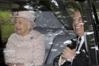 The Queen and Prince Andrew leave Crathie Kirk, after a Sunday morning church service, in Crathie, Scotland.