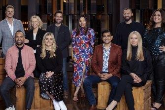 In the Celebrity Masterchef kitchen are: (back row) Nick Riewoldt, Rebecca Gibney, Matt Le Nevez, Dami Im, Ian Thorpe, Chrissie Swan; (front row) Archie Thompson, Tilly Ramsay, Dilruk Jayasinha, Collette Dinnigan.