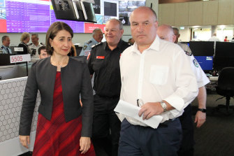 Premier Gladys Berejiklian and Emergency Services Minister David Elliott on Saturday.