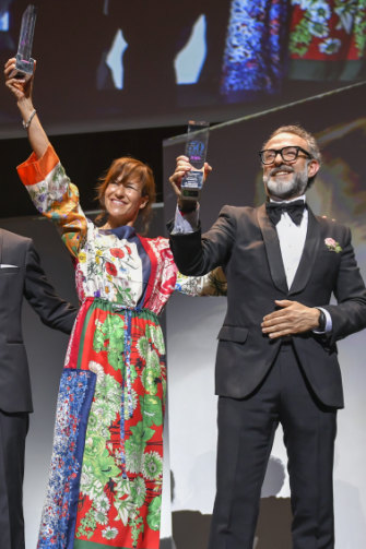 Massimo Bottura and his wife Lara Gilmore at the World's 50 Best Restaurant Awards 2018, where they won best restaurant for Osteria Francescana.