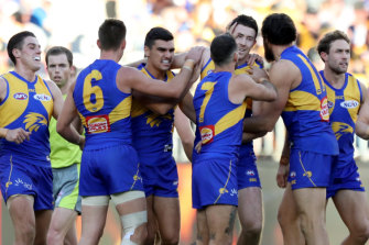 West Coast celebrate against Richmond last year.